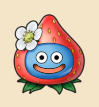 いちごスライム:栃木県のおみやげ いちご農園に紛れ込んだスライム。花を飾り おしゃれに決めている。
