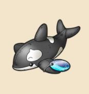 シャチのぬいぐるみ:千葉県のおみやげ 海のギャングと呼ばれるシャチだが そのひとみは つぶらでかわいい。